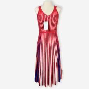 FOXIEDOX Sz S NWT Knit Midi Dress Red White Stripe
